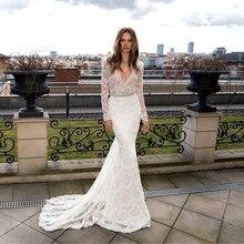 فستان زفاف أبيض عميق رقبة v مخصص دانتيل حورية البحر فساتين زفاف 2020 كم طويل فستان عروس فساتين زفاف