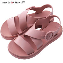 Size 36~40 Flat Sandals Women Shoes Gladiator Open Toe Buckle Soft Jelly Sandals Female Casual Women's Flat Platform Beach Shoes soft beige metallic buckle flat sandals