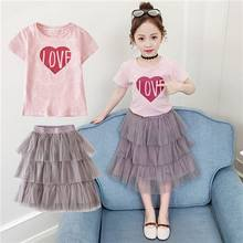 Girls Dress 2pc Clothes Set Baby Toddler Outfits Summer Striped T- Shirt Children Kid Dresses For Girl Fashion Party Dress W95(China)