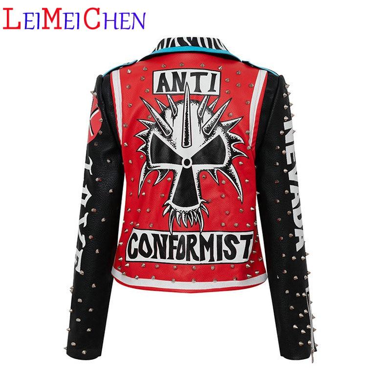 LEIMEICHEN Street Fashion Short Jacket Women Punk Style Slim Motorcycle PU Leather Jacket Female Lapel Rivet Graffiti Outerwear
