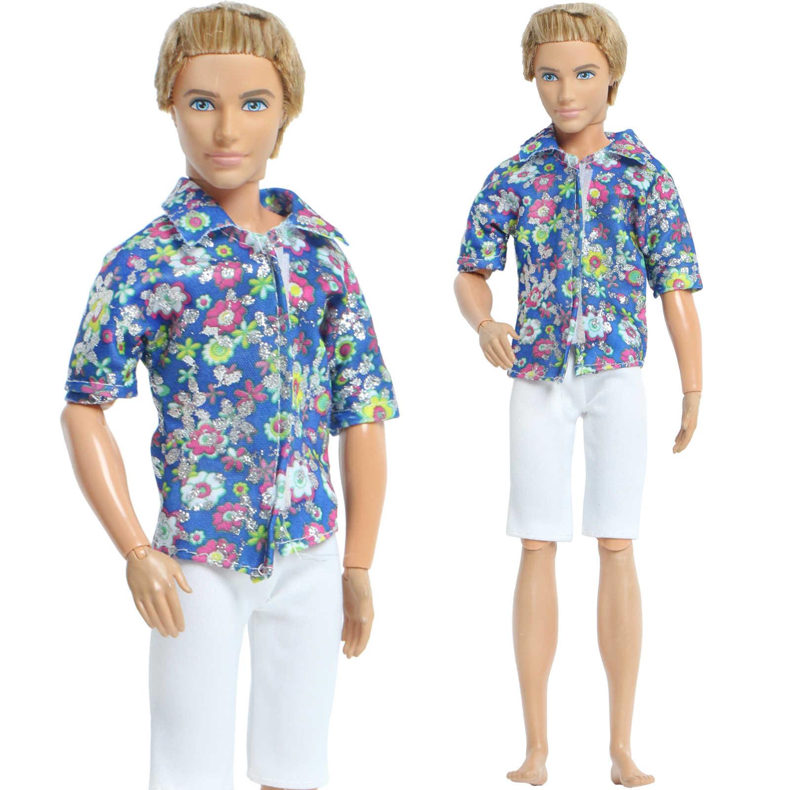 แฟชั่นชุดสบายๆ 1 ชุดสวมใส่Mix Stylesผู้ชายชุดเสื้อยืดBattle Fatiguesกางเกงขาสั้นกางเกงกางเกงเสื้อผ้าสำหรับตุ๊กตาบาร์บี้Kenของเล่น