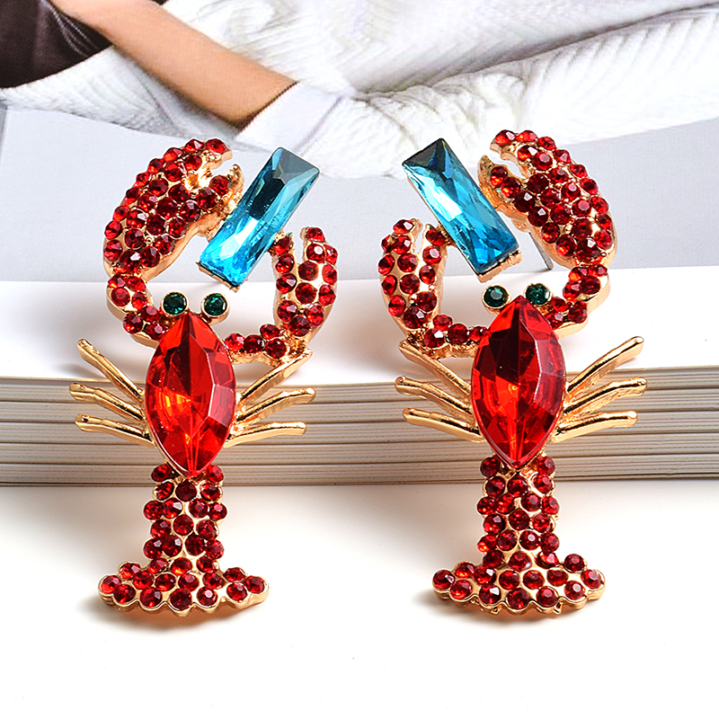 Wholesale Fashion Trend Red Crystal Metal Earrings Statement Fine Drop Earring High-quality Jewelry Accessories For Women