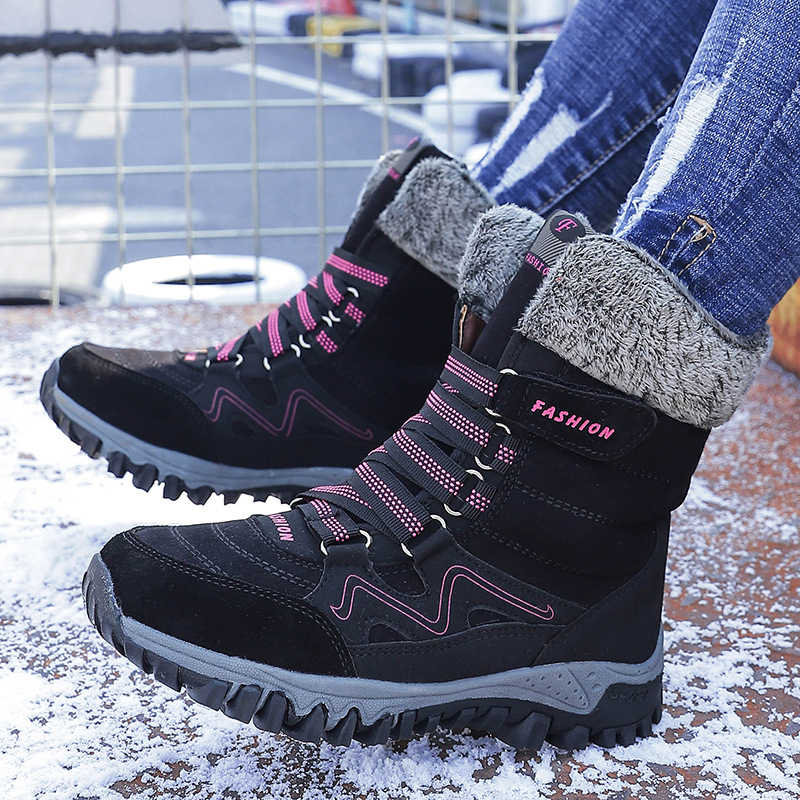 Women Snow Boots Fashion Lace Up Waterproof Mid-calf Boots Winter Warm Women's Boots Flat Shoes Female Botas Mujer Women Shoes