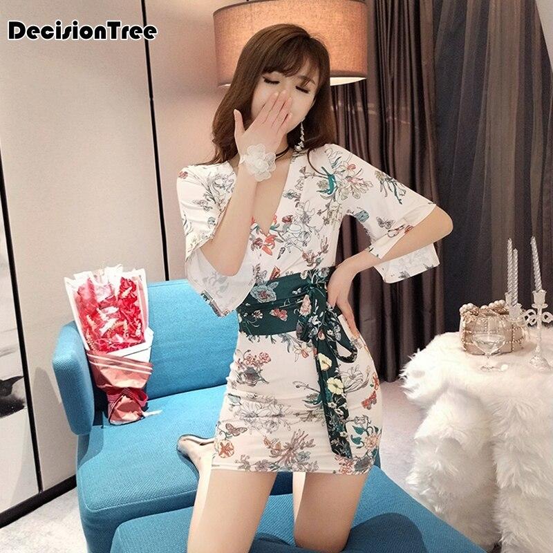 2019 Women Traditional Japanese Kimono Dress Yukata Sexy With Obi V Neck Bodycon Sexy Lingerie Kimono Clubwear Floral Print