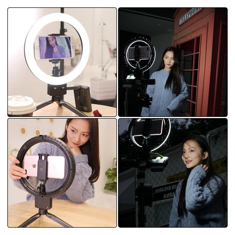 LED مصباح مصمم على شكل حلقة صور استوديو ضوء الكاميرا التصوير الفيديو الضوئي عكس الضوء ل يوتيوب ماكياج Selfie مع حامل هاتف ترايبود