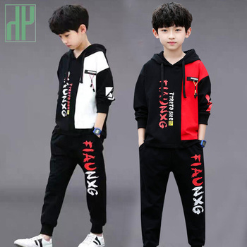 цена на Kids boys clothes Set Sweatshirt Pants 2 Piece Outfit Autumn toddler clothes Sport Suit Hooded Children Clothing 3 8 12 Year