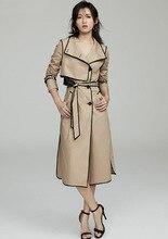 2019 Autumn high quality women's Trench coat england style belt Khaki dust coat women A901 khaki trench coat with self tie belt