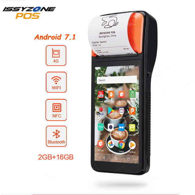 ISSYZONEPOS Android 7.1 POS Terminal imprimante commande Mobile PDA Bluetooth thermique reçu imprimante 58mm 4G WiFi code-barres Scanner 1