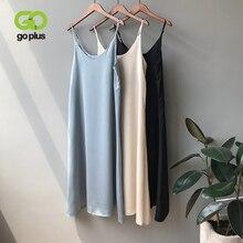 GOPLUS Women's Dress Satin Sling Strap Dresses Sexy Summer Backless Dress 2020 Ropa Mujer Sukienki L
