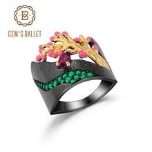 GEMS BALLETT 0,28 Ct Natürliche Rhodolith Granat Ring 925 Sterling Silber Handmade Emaille Handwerk Baum Knospen Ring für Frauen Bijoux