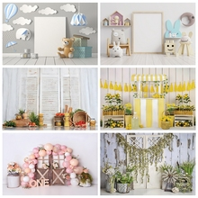 Laeacco Birthday Backgrounds Gray Wall Balloons Clouds Bear Gifts Baby Room Children Portrait Photography Backdrops Photo Studio