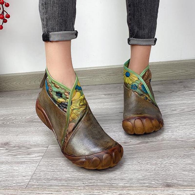 Johnature/женские ботинки с принтом; Натуральная кожа; Новинка 2020 года; Женская обувь на молнии; Обувь на плоской подошве с круглым носком; Ручная работа; Прошитые ботильоны на платформе|Полусапожки|   | АлиЭкспресс