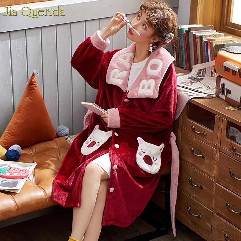 Người Phụ Nữ Áo Choàng Tắm Dép Nỉ Plus Kích Thước Giáng Sinh Đỏ Kawaii Hình Con Heo Thêu Sang Trọng Ve Áo Gấu Bông Teddy Áo Dây Thắt Lưng Đêm Áo Dây Rời Size Kimono