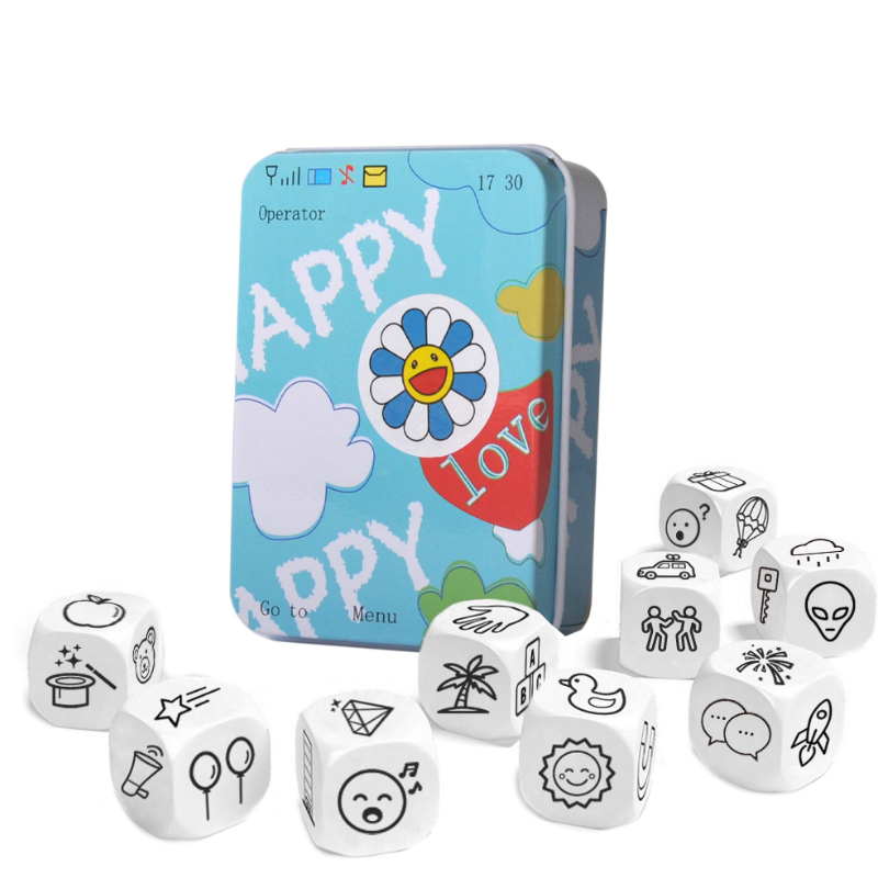 Kids Telling Story Dice Metal Box English Rules Family/Parents/Party Funny Imagine Education Toys For Children Learning Toy