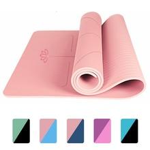 Alfombra antideslizante de TPE para Yoga, estera de 1830x560x6mm con línea de posición para principiantes, esteras de gimnasia para Fitness ambiental