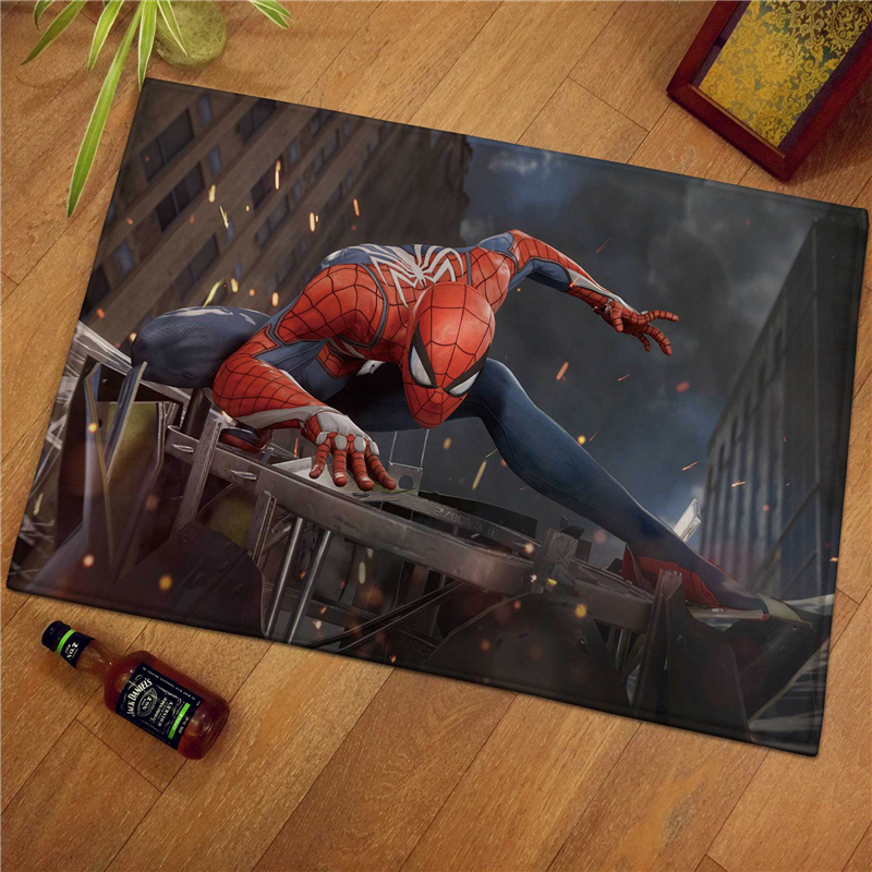 Spiderman Flannel Bath Cartoon Mat Toilet Carpet Door Mat Bathroom Rug Kitchen Carpets Bedroom Floor Absorbent Outdoor Doormat