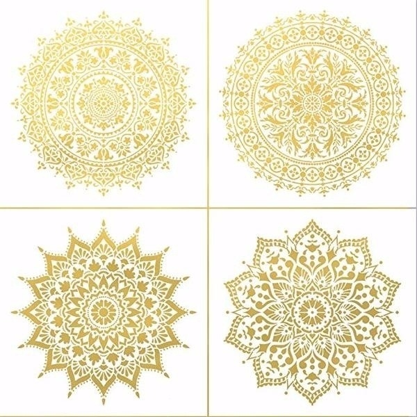 4pcs / Set 30 * 30cmDIY Reusable Molds Laser Cut Painting Stencil Floor Tile Fabric Wall Mold Furniture Mandala Painting Stencil