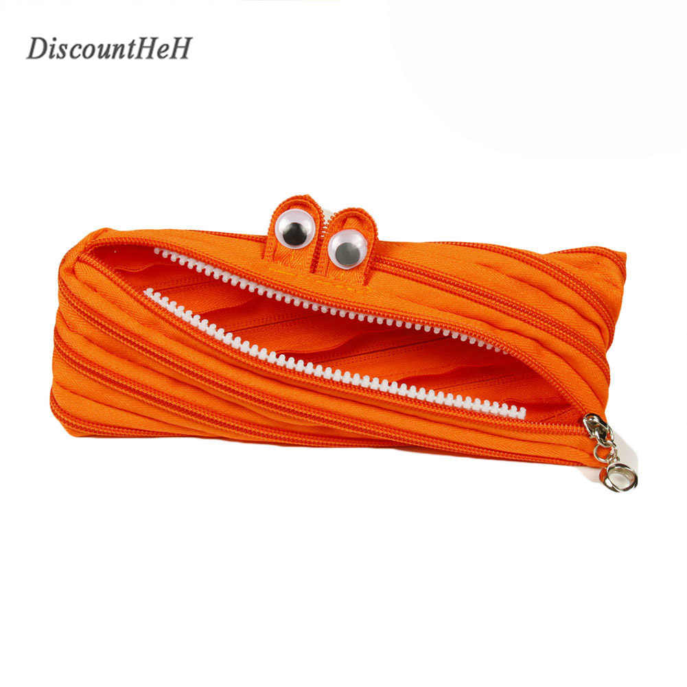 2017 Korea Creative Stationery Simple And Lovely Small Monster Zipper Pencil Bag School Stationery Supply