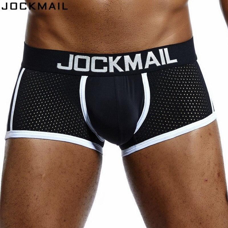 JOCKMAIL Brand Men Mesh Underwear Boxers Calzoncillos Hombre Gay Sleepwear Cueca Boxer Breathable Crotch Male Panties Shorts