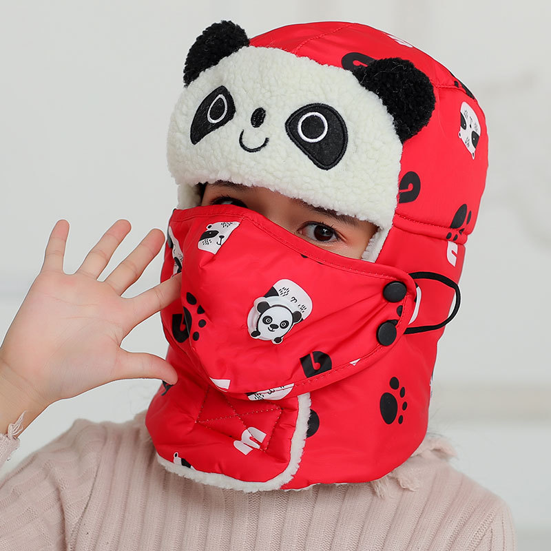 Animal Panda Earflaps Russian Hat Mask Warm Bomber Hats For Girl Boy Winter Hats Cap With Scarf Neck Masks Cotton Snow Cap