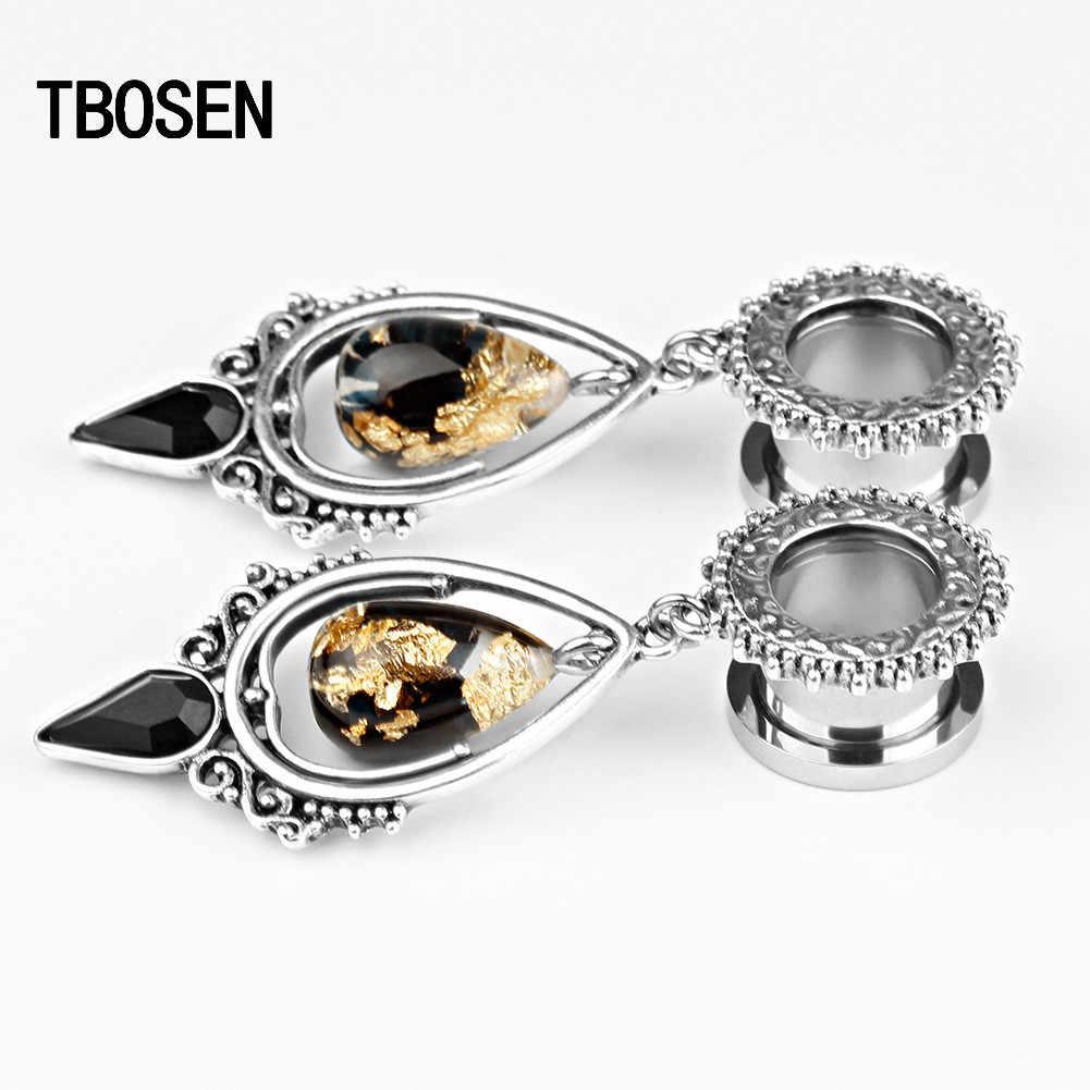 Tbosen Tai Có Dây Đường Hầm Cắm Inox Tòn Ten Bông Tai Hình Giọt Nước Đính Đá Mở Rộng Vòng Thân Món Quà Trang Sức Nữ 2 Chiếc