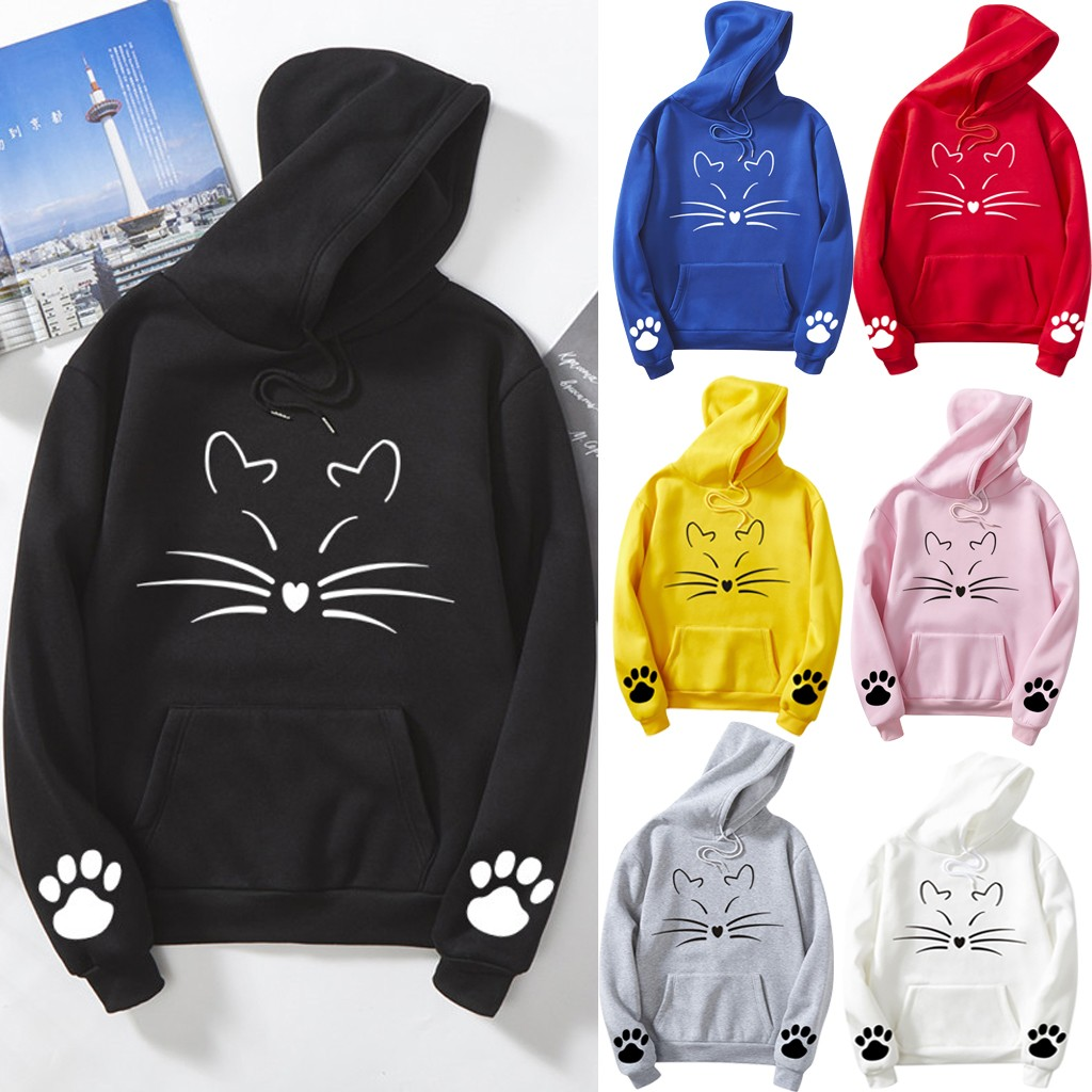 Womens Cute Sweatshirt S,M,L,XL,XXL Japanese Kawaii Style Kitty Cat Print Pocket Long Sleeve Thin Hoodie Tops Pullover