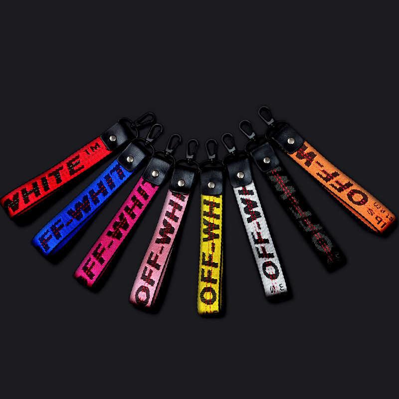 Llavero con cinta trenzada de moda Multi-Color coreano Off negro blanco llaveros para hombres mujeres llavero de la cartera del teléfono llavero del coche