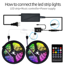 Music Control 5050 RGB Light Strip 5M/Set 20 key Wireless Music LED controller Power Supply 12V 5A waterproof for Bedroom KTV