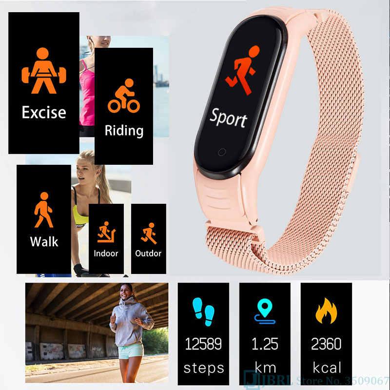 Moda dijital saat kadın erkek spor bilezik elektronik LED bayanlar kol saati lüks saat erkek paslanmaz çelik kol saati
