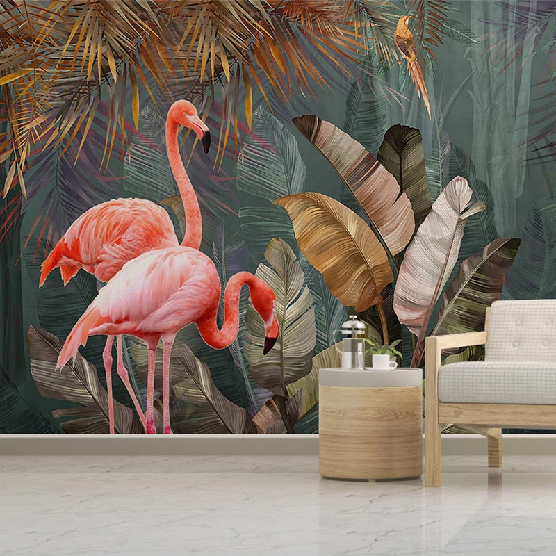 Custom 3D Poster Mural Wallpaper Tropical Plant Forest Banana Leaf Flamingo Photo Wall Papers Home Decor For Living Room Bedroom