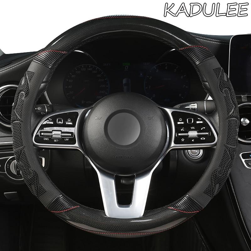 KADULEE Mikrofaser Leder Auto Lenkrad Abdeckung Für Volvo XC90 S80 XC60 S90 V70 V50 S40 V60 XC70 V40