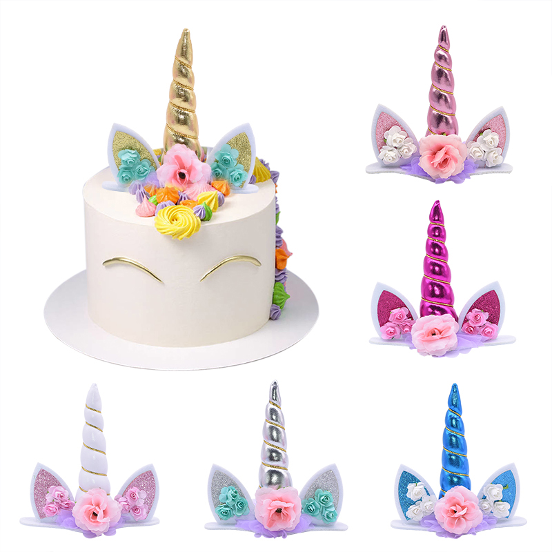 Ella Celebration Rainbow Unicorn Rhinestone Cake Topper Unicorn Cake Decorations for Birthday Baby Shower Silver Events