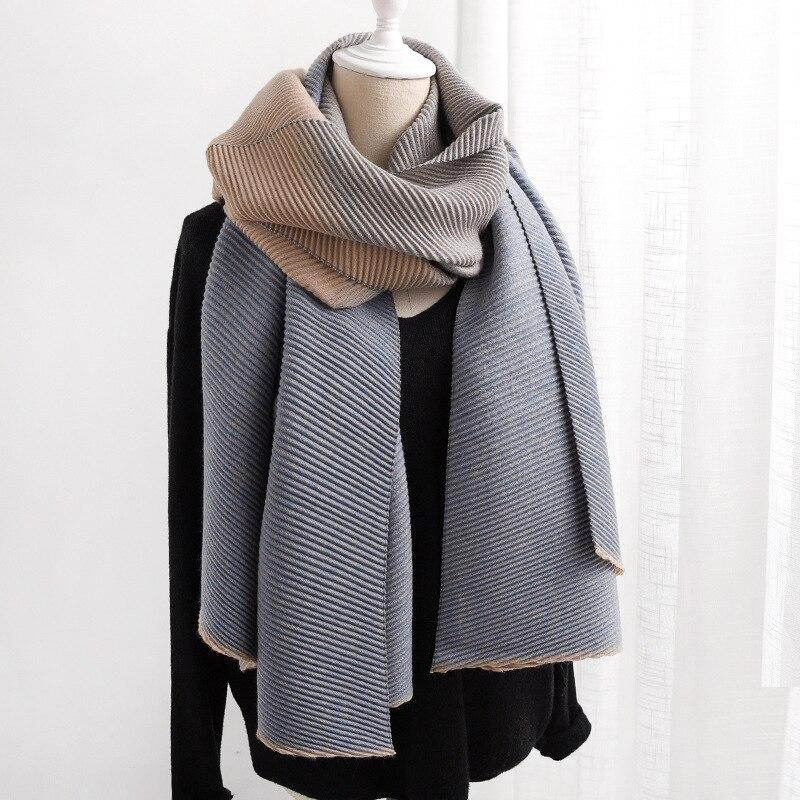Image 4 - ファッション冬のカシミヤスカーフ女性のためのクリンクルヒジャーブ暖かいパシュミナスカーフ無地ネッカチーフショールとラップ女性のスカーフレディース スカーフ   -