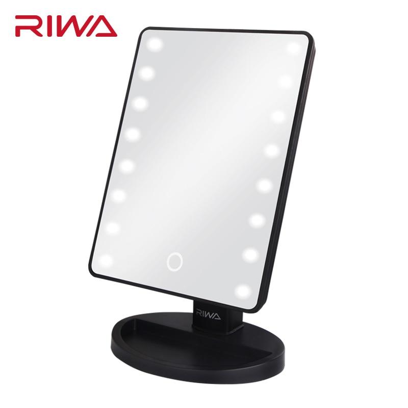 RIWA GWF146 Specchio Per Il Trucco con 16 Led Specchio Cosmetico con Touch Dimmer Interruttore di Funzionamento A Batteria Del Basamento per Tavolo Bagno di Viaggio