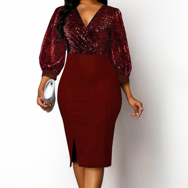 African Dresses For Women 2020 African Dress Women's Lace Sequins Round Neck Sleeves Daily Dress Evening Dress Party Dress