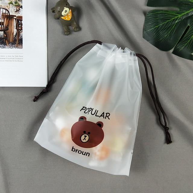 cartoon Bear Drawstring Bag Transparent travel organizer Shoes Storage Bag Clothes Packing travel accessories 4