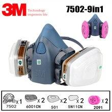 Masque à gaz 9 en 1 3M 7502 6001, respirateur militaire, demi-visage, largement utilisé, peinture chimique, Spray, Protection contre les pesticides