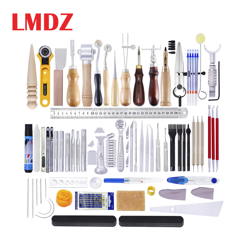 LMDZ Leather Craft Tools Kit Hand Sewing Stitching Punch Carving Work Saddle Set Professional Leather Craft Accessories