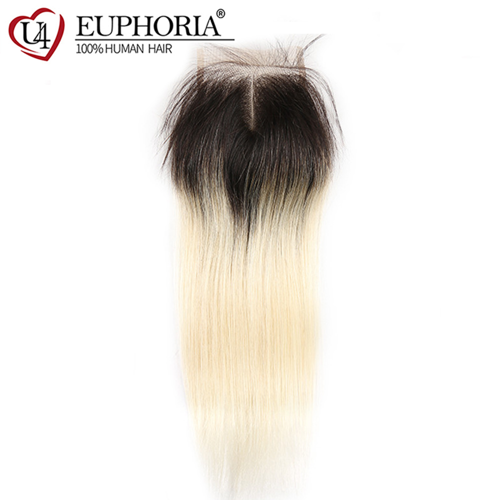 Brazilian Straight Ombre Blonde 4x4 Lace Closure With Baby Hair 1B 613 Blonde Remy Human Hair Closures Middle/Free Part Euphoria image