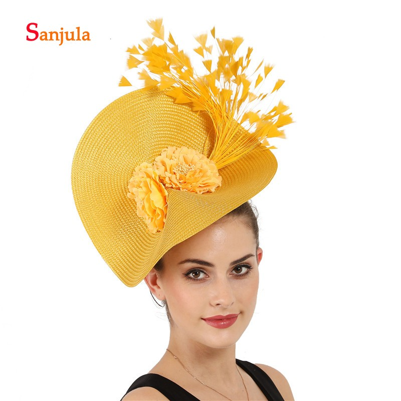 Yellow Straw Hyperbole Party Hats For Women Feathers Gorgeous Bridal Hats Wedding Headwear Sombrero Mujer Boda  H379