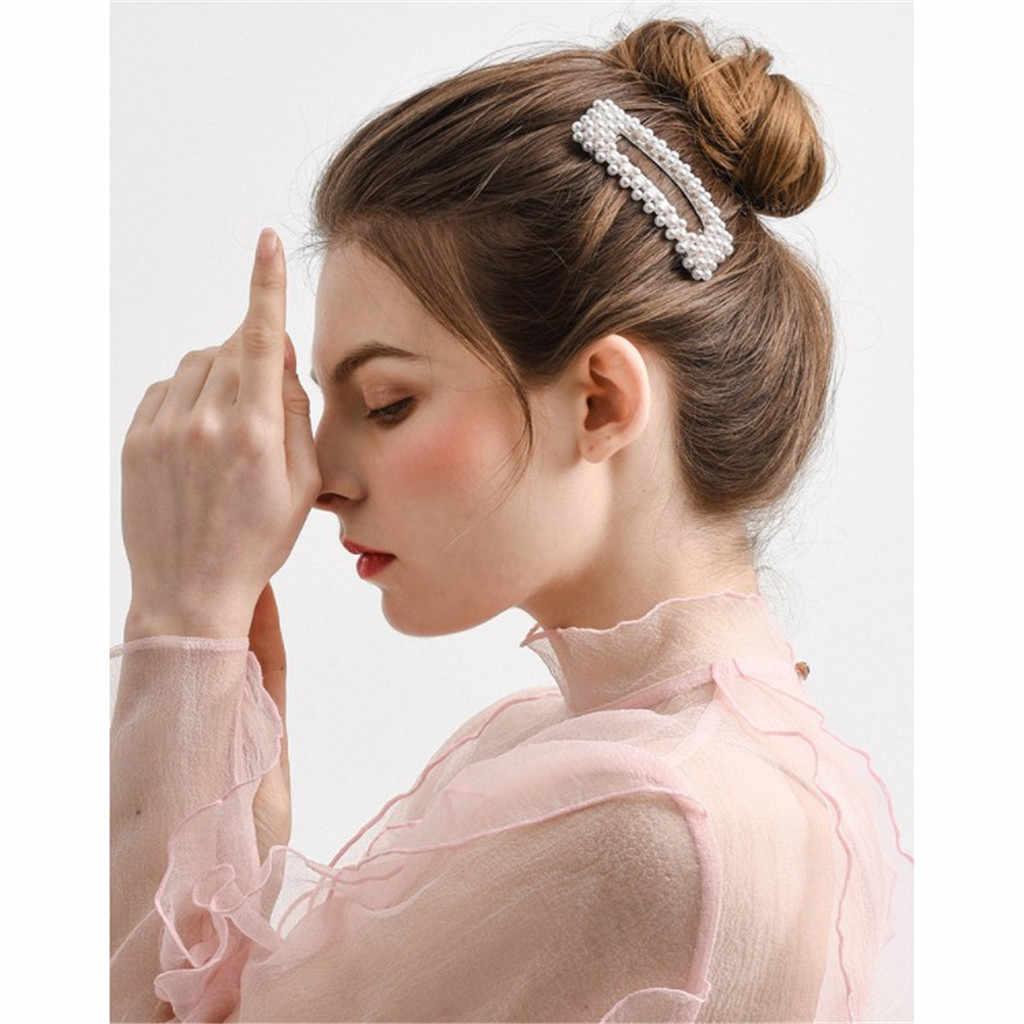 แฟชั่นผู้หญิงไข่มุกผมคลิป Snap Barrette Hairpins Hairpins เครื่องมือจัดแต่งทรงผมอุปกรณ์เสริม Hairgrip Headdress ของขวัญ