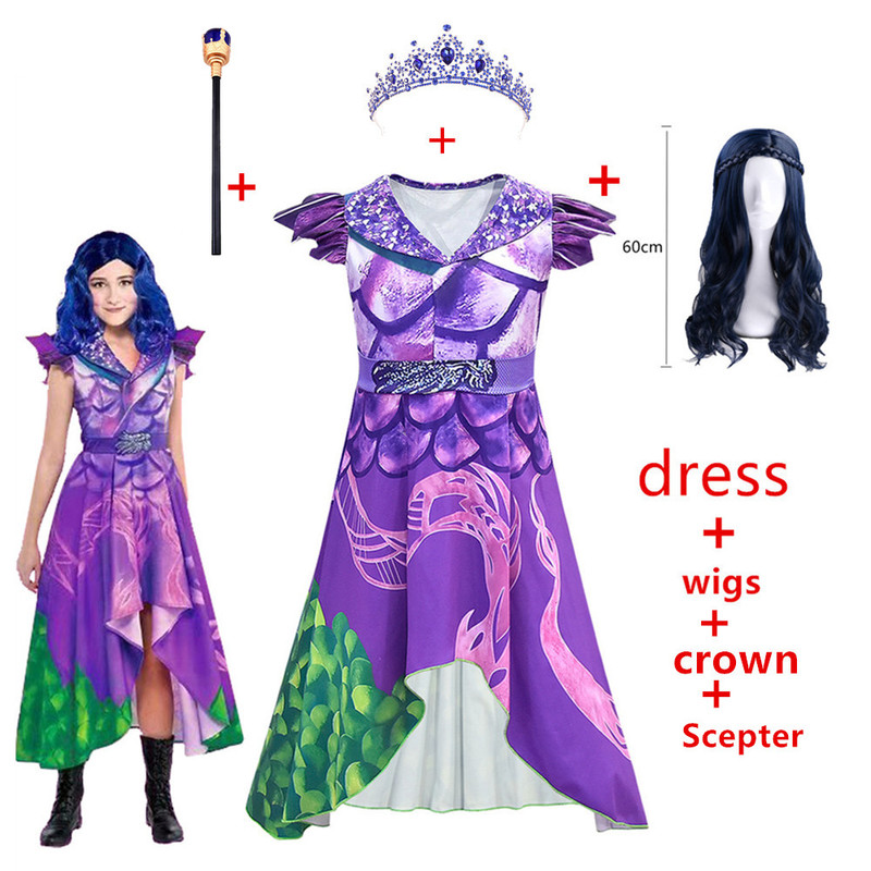 Child Girls Mal Descendants 3 Evie Cosplay Purple Dress Costume 3D Printed Costume Kids Adult Halloween Party Masquerade Clothes