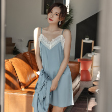 Sleepwear Women Summer Sleeveless Nightdress  Lace Satin Sexy Blue Navy Purple Nightgown