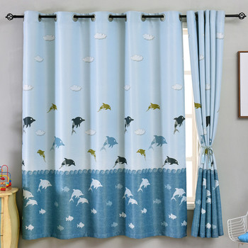 Cartoon Dolphin Kids Curtain Blackout Curtains for Children's Bedroom Short Curtain фото