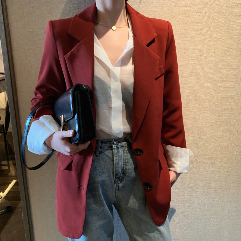 HziriP Red Wine Plus Size Solid Streetwear High Quality 2020 OL Women Gentle Hot All Match Autumn Slender Chic Loose Blazers