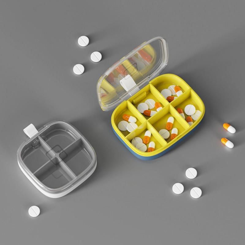 4/6 сетки медицина таблетки коробка для Планшеты 7 дней таблетки чехол Мини-дозатор контейнер для витамины хранения ящик для хранения