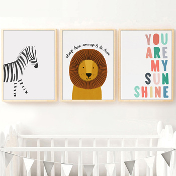 Cartoon Animal Canvas Painting Be Brave Kids Nursery Baby Room Wall Decor Poster Zebra Lion Picture for Room Decor image