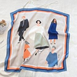 Hidżab prawdziwe zimowe i letnie 2020 malowanie cienkie małe kwadraty kobiece imitacja jedwabiu dekoracyjne szale przeciwsłoneczne Longhair Belt