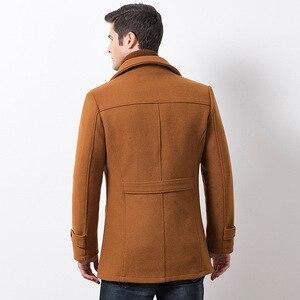 Image 2 - Winter Männer Beiläufige Wolle Graben Mantel Mode Business Medium Solide Verdicken Schlank Windjacke Mantel Jacke Männlichen Plus Größe 5XL