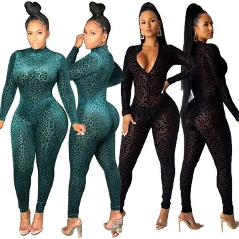 High Quality Women Jumpsuit Zipper Up Sexy Mesh Leopard Skinny Bodysuit Nightclub Glam Maker Free Shipping Wholesale Dropshpping